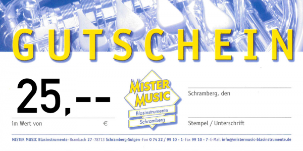 MISTER MUSIC Geschenkgutschein über 25,- €