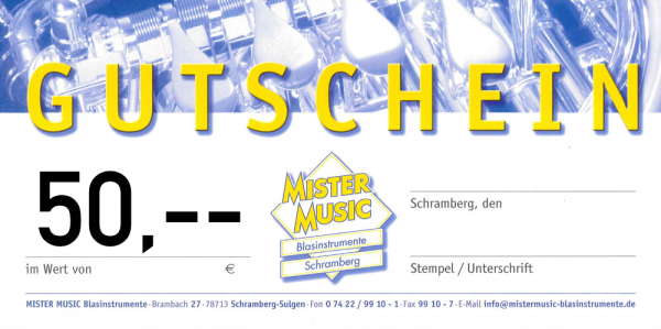 MISTER MUSIC Geschenkgutschein über 50,- €