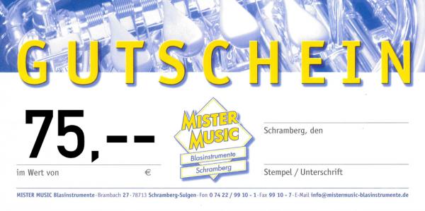 MISTER MUSIC Geschenkgutschein über 75,- €